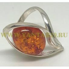 """Кольцо с янтарем """"Венеция"""" коньяк"""