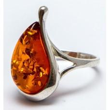 Кольцо с янтарем «Янтарная слеза» коньяк