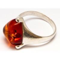Кольцо с янтарем «Игналина» коньяк