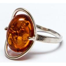 Кольцо с янтарем «Оливия» коньяк