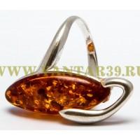 Кольцо с янтарем «Ива» коньяк