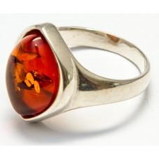 Кольцо с янтарем «Орхидея» коньяк