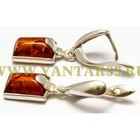 Серьги с янтарем «Сакура» коньяк