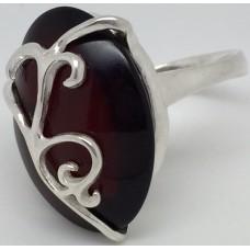 """Кольцо с янтарем """"Наваждение"""" вишня"""