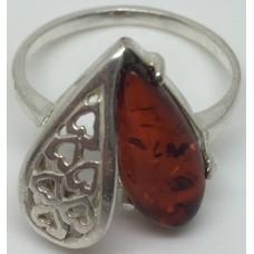 """Кольцо с янтарем """"Половинка"""" коньяк"""