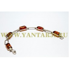 Браслет с янтарем «Сакура» коньяк