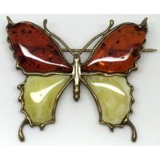"""Брошь с янтарем""""Бабочка большая бронза белый,коньяк"""""""