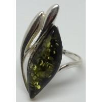 """Кольцо из янтаря """"Фиалка"""" зелень"""