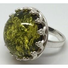 """Кольцо с янтарем """"Королева"""" зелень"""