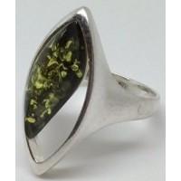 """Кольцо с янтарем """" Мечта"""" зелень"""