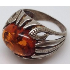 "Кольцо с янтарем ""Сафари"" коньяк"