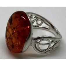 """Кольцо с янтарем """"Янтарные узоры"""" коньяк"""