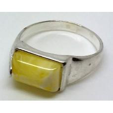 "Кольцо с янтарем ""Сакура"" белый"