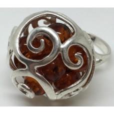 """Кольцо с янтарем """"Сферы"""" коньяк"""