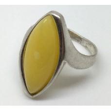 "Кольцо с янтарем ""Афродита"" белый"