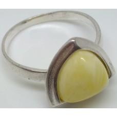 """Кольцо из белого янтаря """"Лучик"""""""