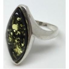 """Кольцо с янтарем """"Афродита"""" зелень"""