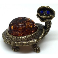 """Сувенир с янтарем """"Черепаха в шляпе"""""""