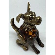 """Сувенир с  янтарем """"Собака в ошейнике"""""""