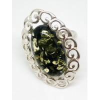 "Кольцо с янтарем ""Ортелле"" зелень"
