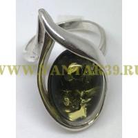 "Кольцо с янтарем ""Венеция"" зелень"