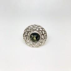 """Кольцо с янтарем """"Венера"""" зелень"""