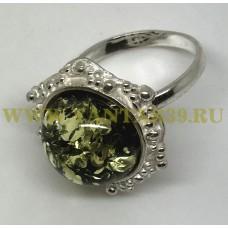 """Кольцо с янтарем """"Вероника"""" зелень"""