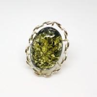 """Кольцо с янтарем """"Милена"""" зелень"""