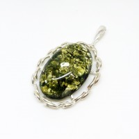 "Кулон с янтарем ""Милена"" зелень"