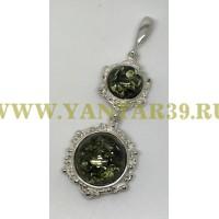 """Кулон с янтарем """"Вероника"""" длинный зелень"""