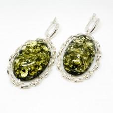 "Серьги с янтарем ""Милена"" зелень"