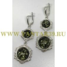 """Серьги с янтарем """"Вероника"""" длинные зелень"""