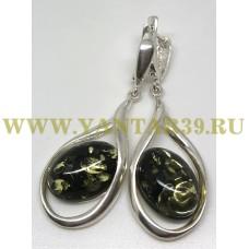 """Серьги с янтарем """"Венеция"""" зелень"""